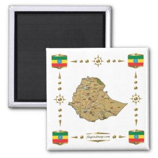 Ethiopia Map + Flags Magnet