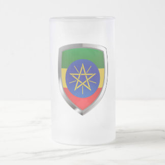 Ethiopia Mettalic Emblem Frosted Glass Beer Mug