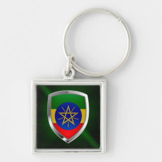Ethiopia Mettalic Emblem Silver-Colored Square Keychain