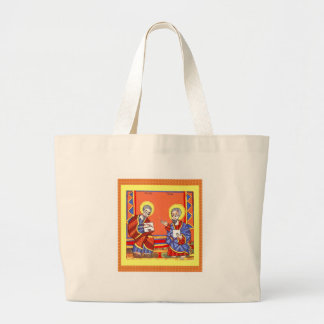 Ethiopian-Bible-Saint-Luke-Saint-John Large Tote Bag