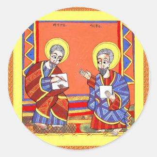 Ethiopian-Bible-Saint-Luke-Saint-John Round Sticker