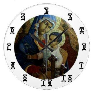 Ethiopian Black Madonna Time - Round (Large) Clock