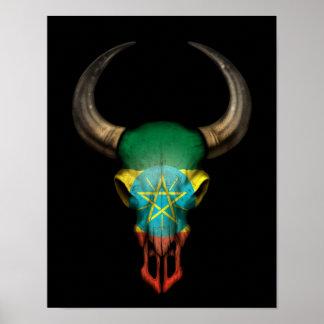Ethiopian Flag Bull Skull on Black Poster