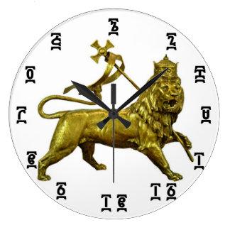 Ethiopian Gold Lion Time - Round (Large) Clock