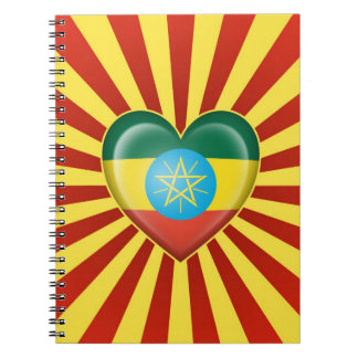 Ethiopian Heart Flag with Sun Rays Notebook