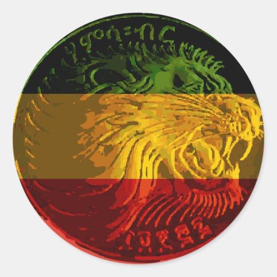 Ethiopian rasta lion round sticker