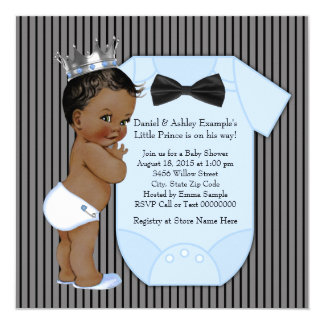 Ethnic African American Prince Baby Shower Card