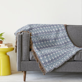 ethnic african hand-drawn pattern throw blanket