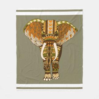 Ethnic African Hues Tribal Elephant Fleece Blanket