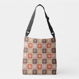 Ethnic African pattern with Adinkra simbols Crossbody Bag