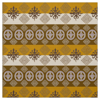 Ethnic African pattern with Adinkra simbols Fabric