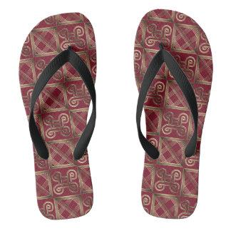 Ethnic African pattern with Adinkra simbols Flip Flops