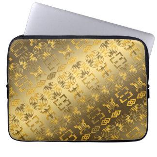 Ethnic African pattern with Adinkra simbols Laptop Sleeve