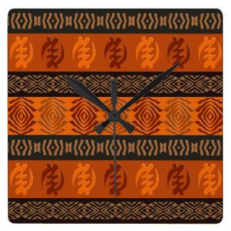 Ethnic African pattern with Adinkra simbols Square Wall Clock