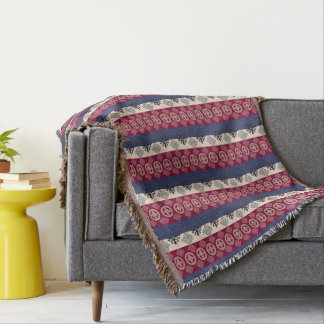 Ethnic African pattern with Adinkra simbols Throw Blanket