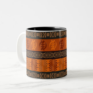 Ethnic African pattern with Adinkra simbols Two-Tone Coffee Mug