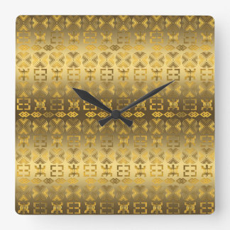 Ethnic African pattern with Adinkra simbols Wallclock
