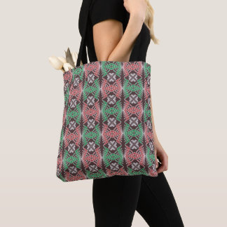 ethnic african striped geometric  pattern tote bag