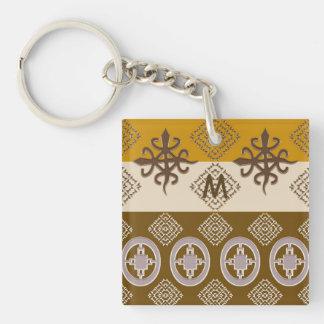 Ethnic african tribal pattern. Adinkra. Monogram. Keychain