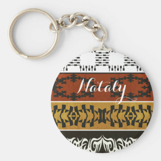 Ethnic african tribal pattern. Name. Monogram. Keychain