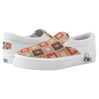 ethnic african tribal pattern with Adinkra simbols Slip-On Sneakers