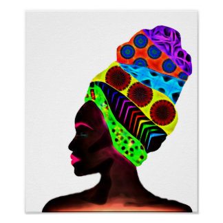 Ethnic African woman with a colorful turban Poster