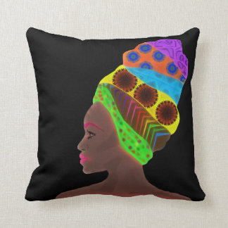 Ethnic African woman with a colorful turban Throw Pillow