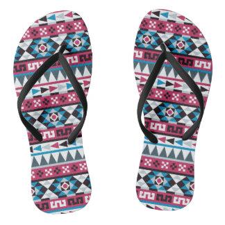 Ethnic Aztec Geometric Pattern Flip Flops