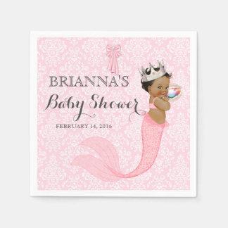 Ethnic Baby Girl Mermaid Princess Crown Damask Disposable Napkin