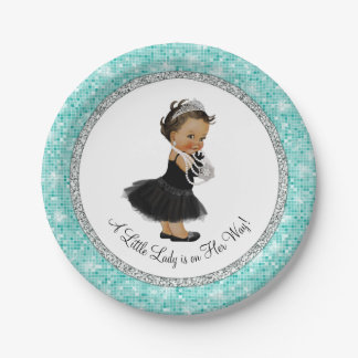 Ethnic Ballerina Pearl Little Lady Baby Shower 7 Inch Paper Plate