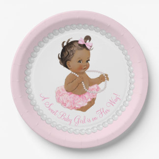 Ethnic Ballerina Tutu Pearl Baby Shower Paper Plate
