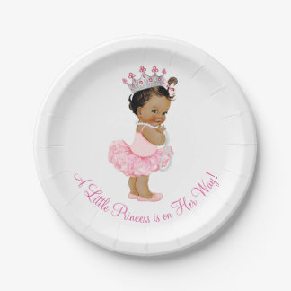 Ethnic Ballerina Tutu Pearls Princess Baby Shower Paper Plate
