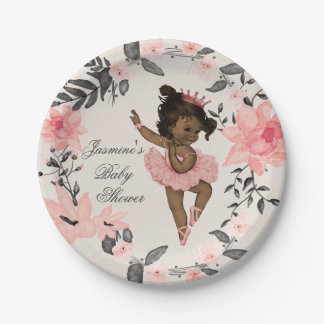 Ethnic Ballerina Watercolor Wreath Baby Shower Paper Plate