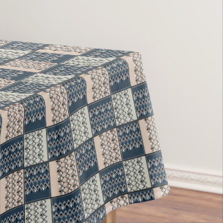 Ethnic beige blue patchwork . tablecloth