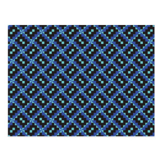 Ethnic Blue Squares Pattern Postcard