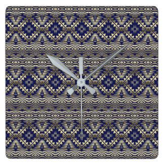 ethnic bohemian golden pattern square wall clock