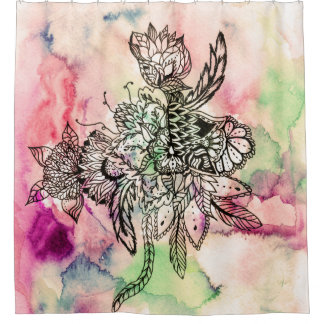 Ethnic bohemian watercolor handdrawn floral
