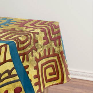 Ethnic Boho African Style pattern on Gold Tablecloth