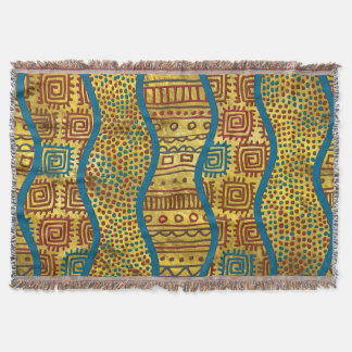 Ethnic Boho African Style pattern on Gold Throw Blanket
