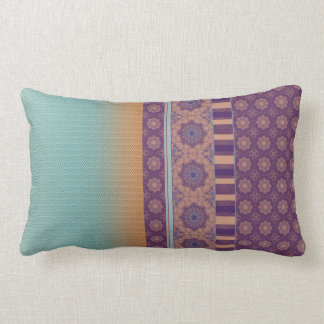 Ethnic Boho Pattern Mix Ombre Purple Teal Lumbar Pillow