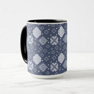 ethnic boho style blue pattern. mug