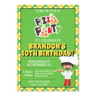 Ethnic Boy Pizza Party Birthday Invitation