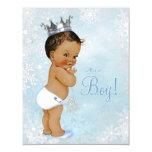 "Ethnic Boy Prince Winter Wonderland Baby Shower 4.25"" X 5.5"" Invitation Card"
