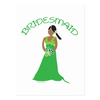 Ethnic Bridesmaid in Green Gifts Postcards