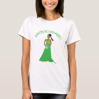 Ethnic Bridesmaid in Green Wedding Party Shirt