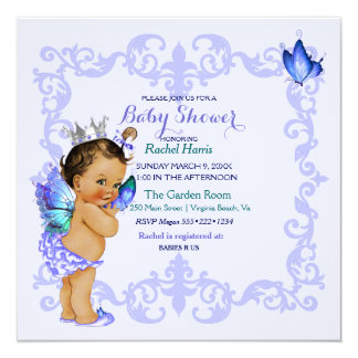 Ethnic Butterfly Princess Vintage Baby Girl Crown Card