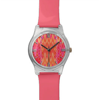 Ethnic Chevron Damask, Coral and Fuchsia Pink Watch