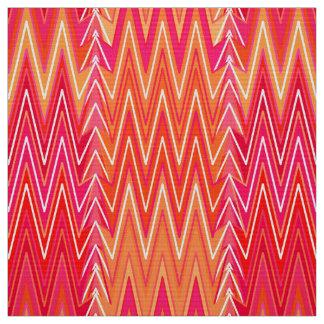Ethnic Chevron Damask, Coral Orange and Pink Fabric