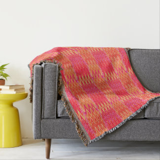 Ethnic Chevron Damask, Coral Orange and Pink Throw Blanket