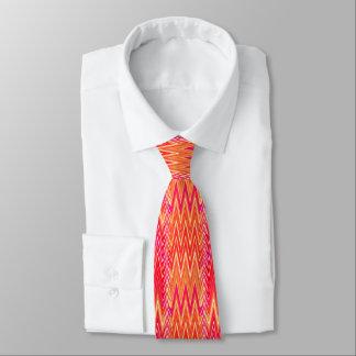 Ethnic Chevron Damask, Coral Orange and Pink Tie